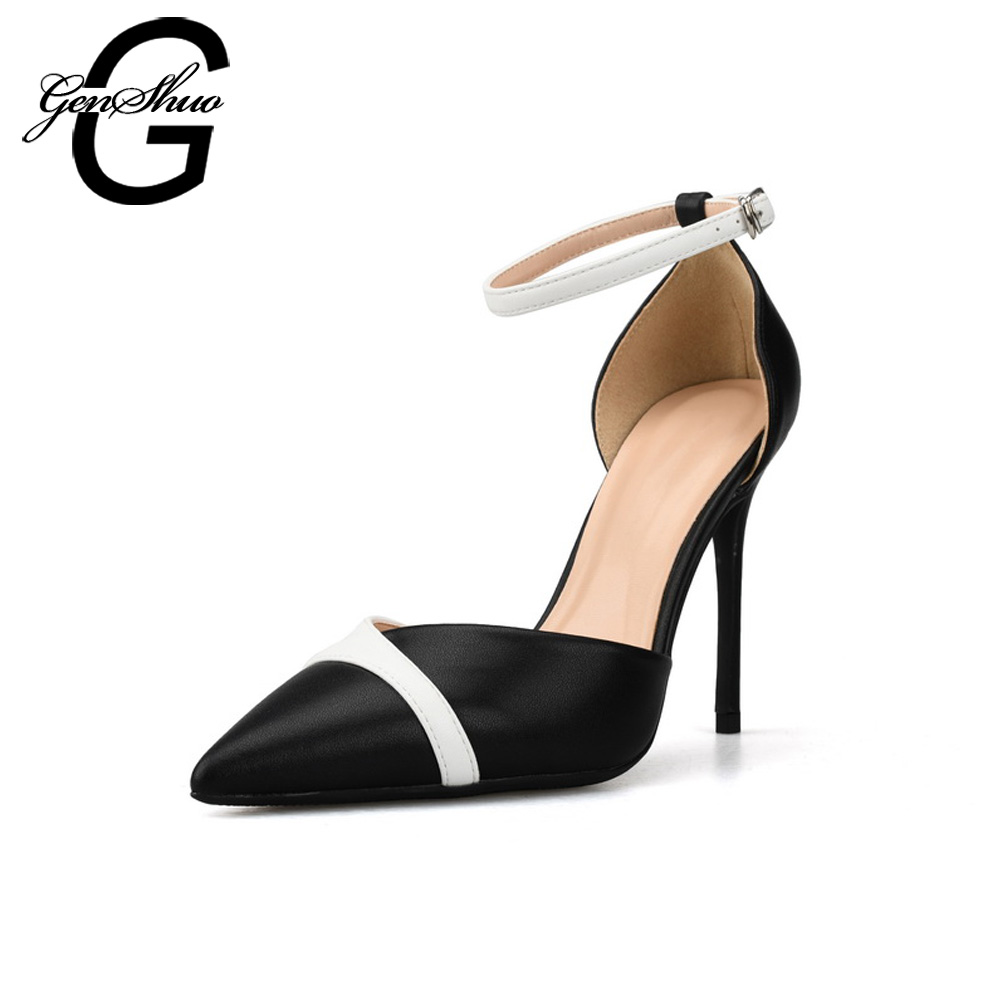 GENSHUO Women Shoes High Heels Stiletto Ankle Strap 6cm 8cm 10cm Sexy Women Pumps Black White