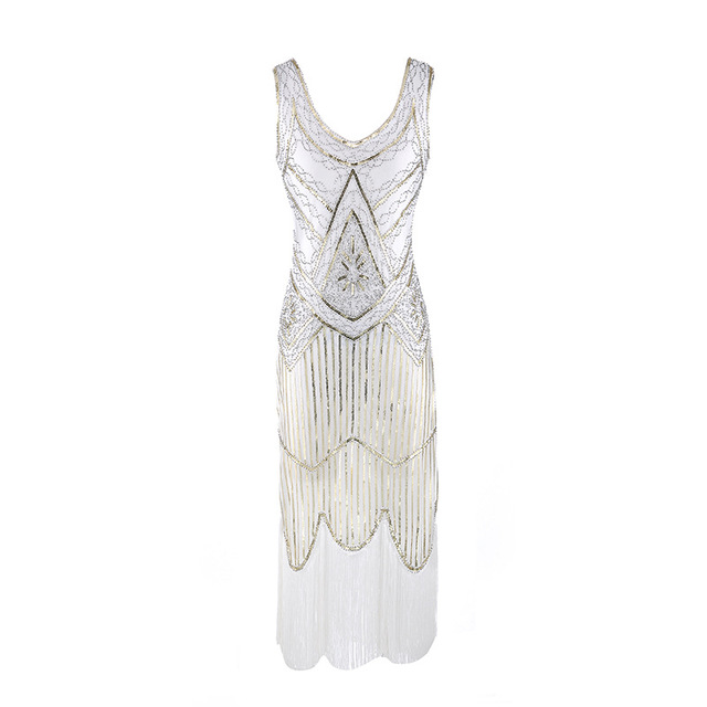 e0a974d765 US $27.38 45% OFF|1920s Gatsby Charleston Sequin White Bead Fringe Flapper  Dress Vestido Robe Double V Neck Sleeveless Tiered Tassel Party Dress-in ...