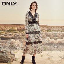 ONLY Autumn V neckline Lace Splice Cinched puff sleeves Chiffon Floral Dress |118107638(China)