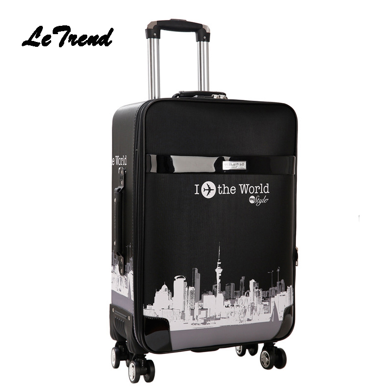 LeTrend Rolling Luggage Spinner Women Password Cabin Trolley Men Travel Duffle Business Suitcase Wheels Student School Bag durable travel rolling luggage 22 inch business suitcase boarding trolley bags password lock vintage spinner wheels box 4002