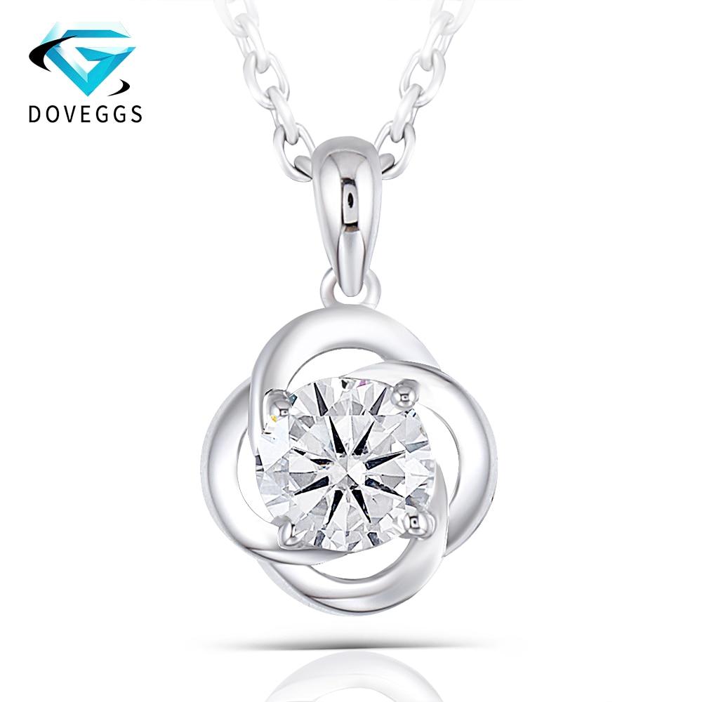 DovEggs centrum 0.6CTW 5.5MM H kolor Moissanite Sterling litego srebra 925 srebrny wisiorek naszyjnik dla kobiet romantyczny kwiat styl w Naszyjniki od Biżuteria i akcesoria na  Grupa 1
