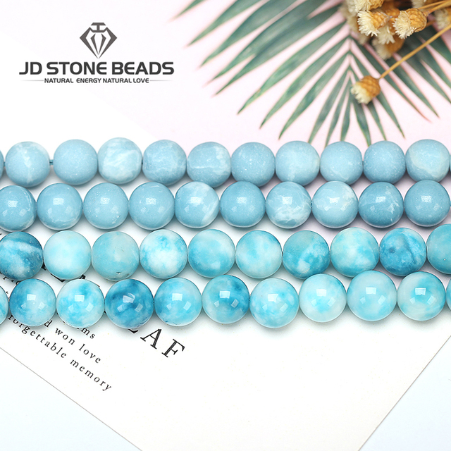 Natural Larimar gemstone Round Loose bead Matte 6 8 10 12MM Immation Ocean Sea s