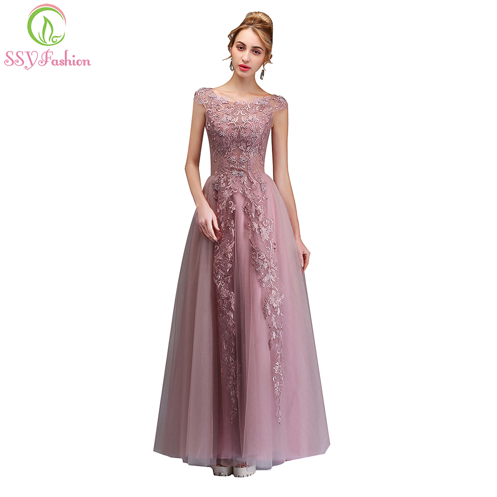 SSYFashion New Lace Evening Dress The Bride Banquet Elegant Pink Appliques  Beading Floor length Party Formal Gown Robe De Soiree-in Evening Dresses  from ... ba71123ccf1e