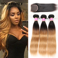 10A Rosa Hair Products Brazilian Virgin Hair Straight Ombre Brazilian Hair With Closure Brazilian Straight Hair With Closure