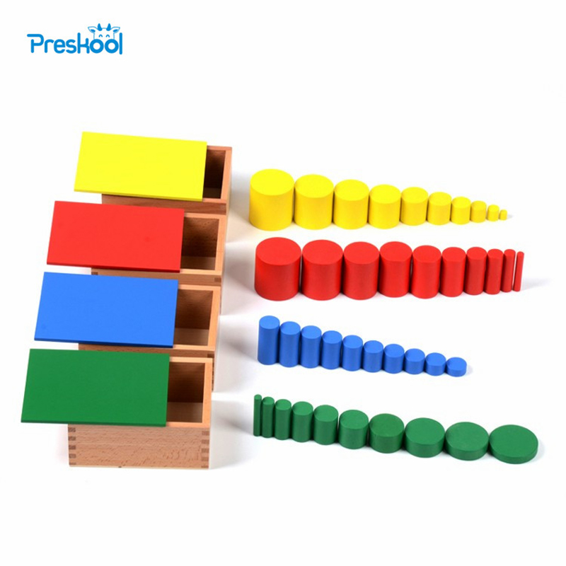 Baby Toy Læring Pedagogisk Leker Knobless Cylinders Montessori Wooden 4 sett med 10 Sylindere Great Gift for Children