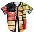 Macarrón Jersey sobrecamisa impresión 3d camisetas Streetwear Hip Hop con la camisa del béisbol de LOS HOMBRES de MODA de Un Solo Pecho