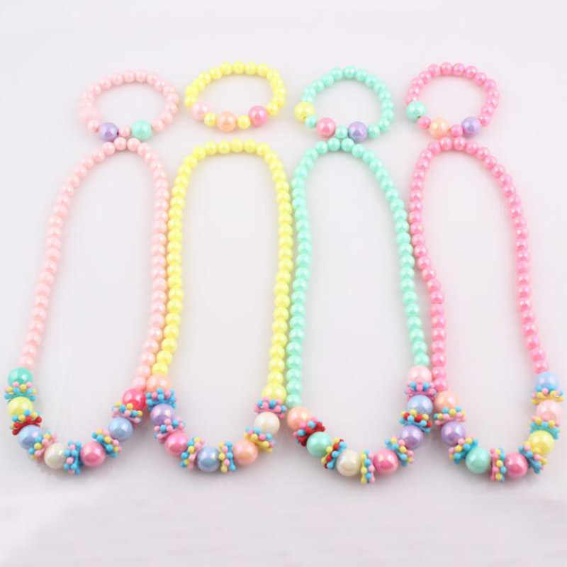 Baby Girl Lovely Colorful Beads Necklace/Bracelet Children Kids Imitation Pearls Jewelry Set Xmas holiday party Gift