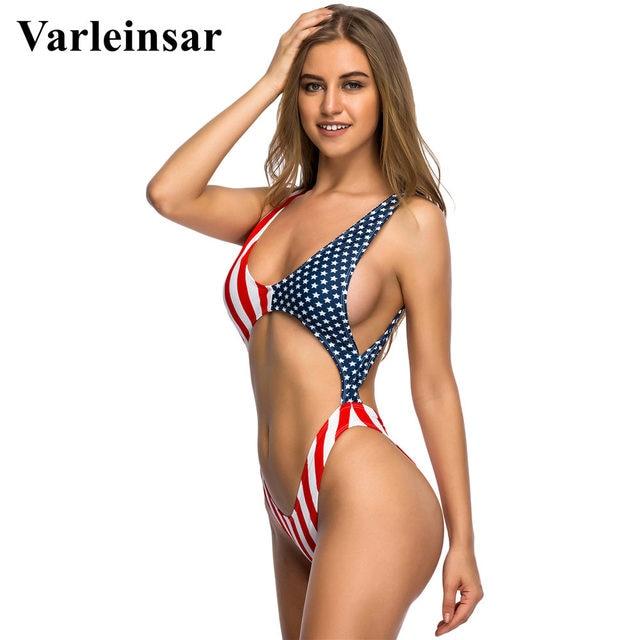 ee67e6653 Bather 2019 American Flag tummy cut out Sexy one piece swimsuit Bathing  suit swim wear women