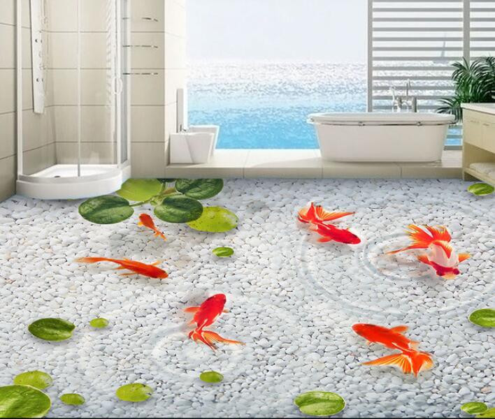 3 d pvc plancher personnalisé 3d salle de bains plancher oie duckweed lotus feuille douce pierre eau poisson photo 3 d mur peintures murales papier peint