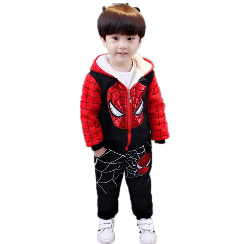 Baby Boy Clothes Winter Suit Cartoon Spider Warm Tracksuit for Boys Newborn Child Velvet Clothing Sets Children Fashion Suit