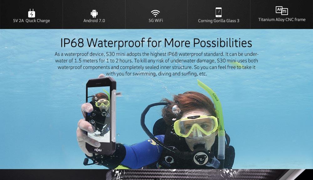 "NOMU S30 mini IP68 Waterproof Smartphone MTK6737T 1.5GHz Quad Core Android 7.0 3GB+32GB Mobile Phones 3000mAh 4.7"" 8MP Camera"