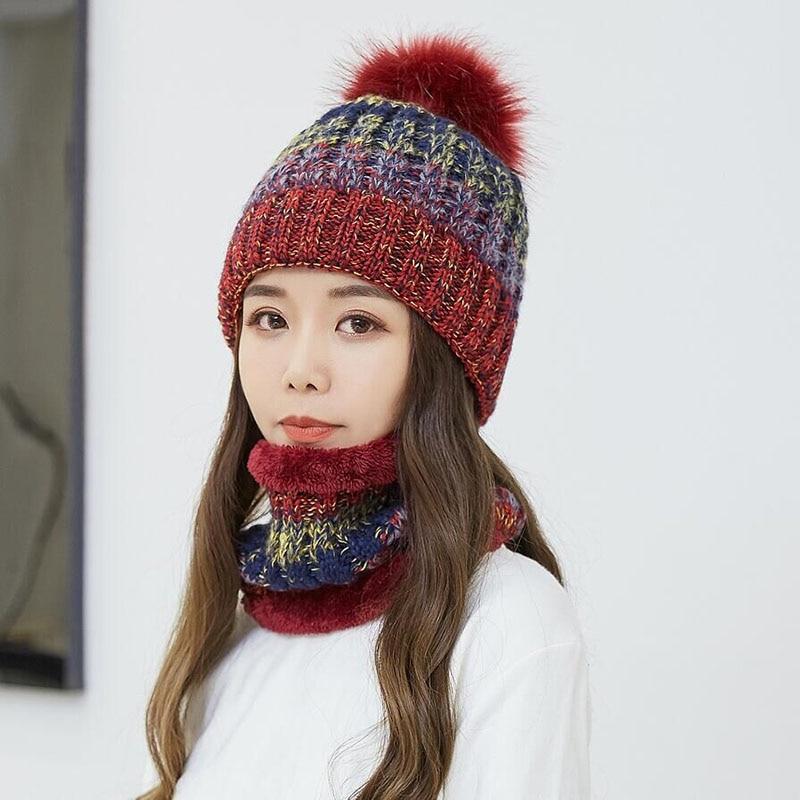2018 Winter   Beanie   Scarf Hat   skullies     beanies   Skull Soft Warm Baggy Cap Mask Winter Hats Gorros For Men Women Knitted Hat