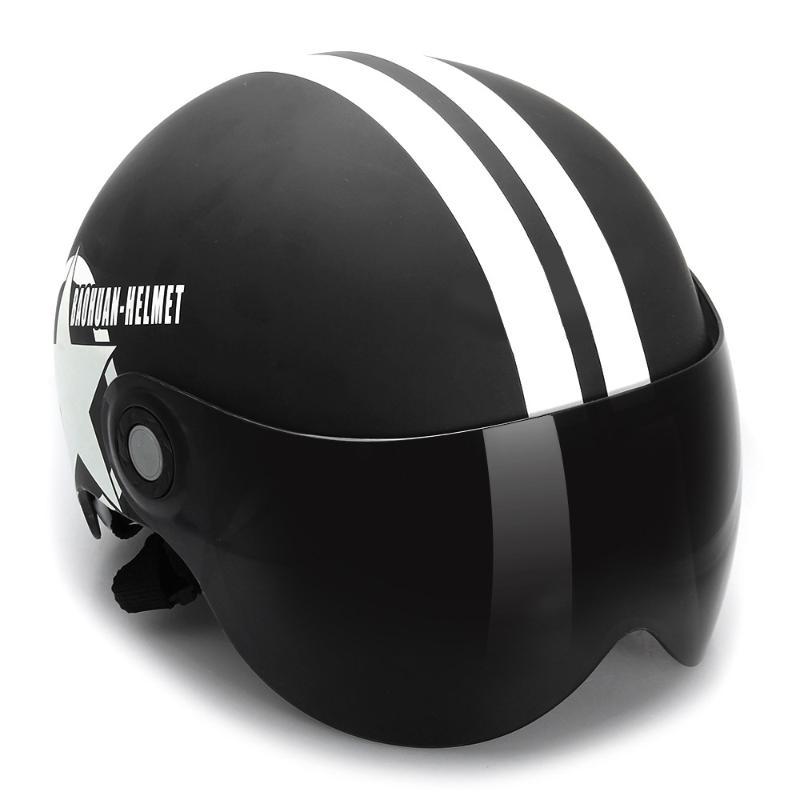 ФОТО Vintage Helmet Motorcycle Men Women Unisex Black Half Helmet Open Face Adjustable Size Five-pointed Star 56-60cm Cascos Para