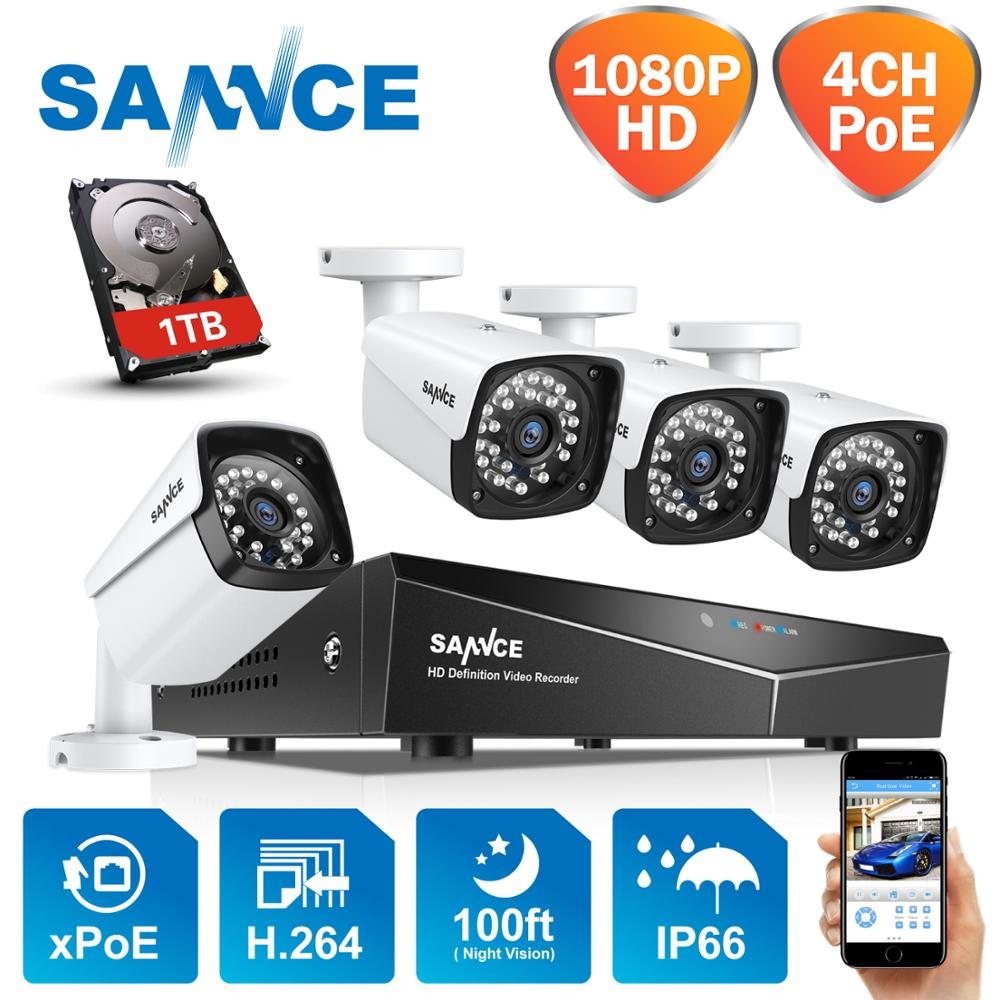 SANNCE 4CH 1080P HDMI POE NVR Kit CCTV Security System 2MP IR IP66 Waterproof Outdoor IP Camera Plug&paly Video Surveillance Set image