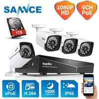 SANNCE 4CH 1080P HDMI POE NVR Kit CCTV Security System 2MP IR IP66 Waterproof Outdoor IP Camera Plug&paly Video Surveillance Set