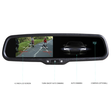 Carsanbo HD 4.3 Inch Auto Dimming Anti Glare Rearview Mirror Parking Monitor With Original Bracket Connect to Rear View Camera