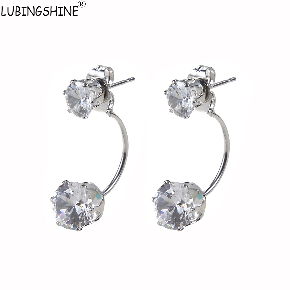 LUBINGSHINE Silver Color Jewelry Double Side Front Back AAA CZ Zircon Crystal Stud Earrings Valentines Day Gift Round Earring