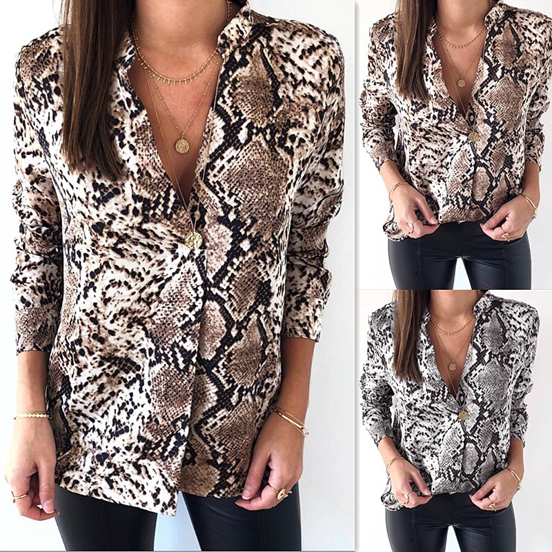 Women Ladies Sexy Leopard snake Print Shirts Fashion Causal Long Sleeve Blouse Button Tops Shirt blusas mujer de moda 2019 New in Blouses amp Shirts from Women 39 s Clothing