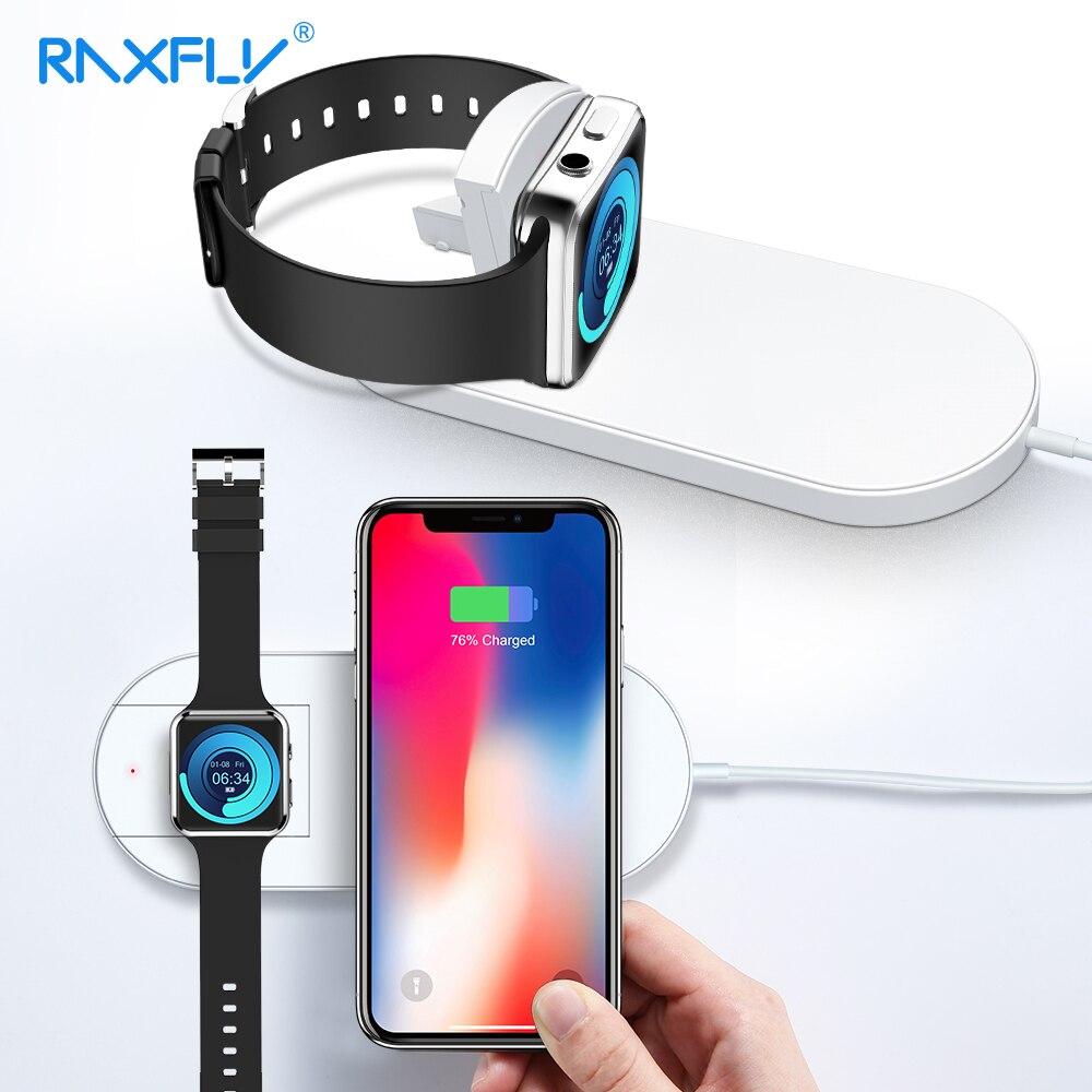 RAXFLY 2 dans 1 10 w Chargeur Sans Fil Pour Apple Montre 3 2 iPhone X 8 Plus Rapide Qi Sans Fil chargeur Pad Pour Smasung S9 Plus Note 9 8