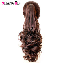 Synthetic Women Claw on Ponytail Clip in Hair Extensions Curly Style Pony Tail Hairpiece Black Brown Blonde Hairstyles SHANGKE(China)