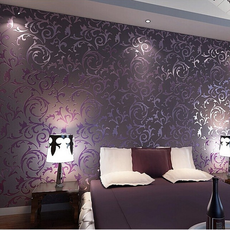 Wallpaper high quality wall paper 3d fashion papel de for Purple living room wallpaper