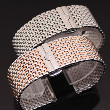 Nova chegada de aço inoxidável pulseira de prata e roseg ead colorido de Metal pulseiras homens pulseiras 22 mm ultra fino
