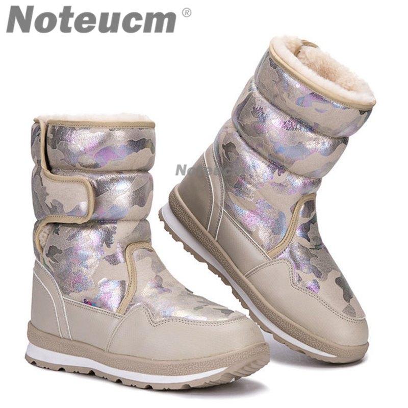 Camouflage Female winter warm Silver white ladies flat short casual Ankle snow boot with Fake fur waterproof quilted shoes women