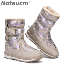 Camouflage Female winter warm Silver white ladies flat short casual Ankle snow boot with Fake fur
