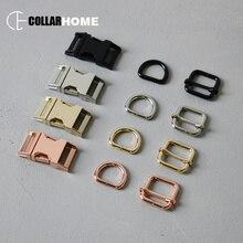 1 set metal side release buckle 3/4 (20mm) d-rings for bag dog pet collar DIY accessories adjuster slider 4 colors