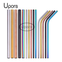 UPORS Wholesale 200Pcs Reusable Drinking Straw Rose Gold Straight Straws High Quality 304 Stainless Steel Metal Straw
