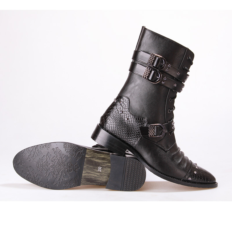 Gothic Punk Boots Men Leather Pu Pointed Toe Warm Winter Plush Fashion Black Fur Casual Shoes Male Motorcycle Botas Hombre Hot gothic skull hand pu leather bracelet black silver