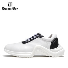 Summer Europe And America Simple Tie Sneakers Increase Thick-soled Shoes Casual Men