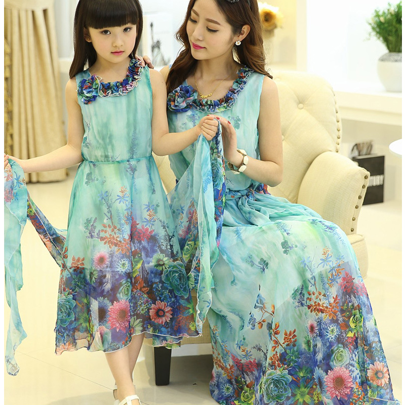 2018 mother and daughter clothes spring summer chiffon dress girl sleeveless maxi long girl dresses Family Matching Outfits
