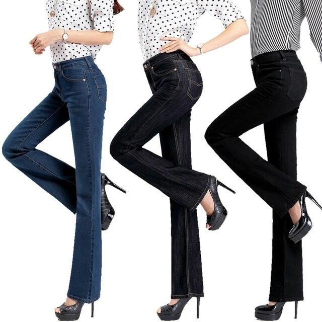 Высокое качество продвижения женщин тонкий середине талии загрузки вырезать джинсы для девочек моды ностальгию клеш брюки клеш Бесплатная доставка