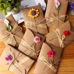 5 шт винтажная крафт-бумага пригласительная открытка с конвертом ручной работы сухой цветок свадебные приглашения конверты для открыток