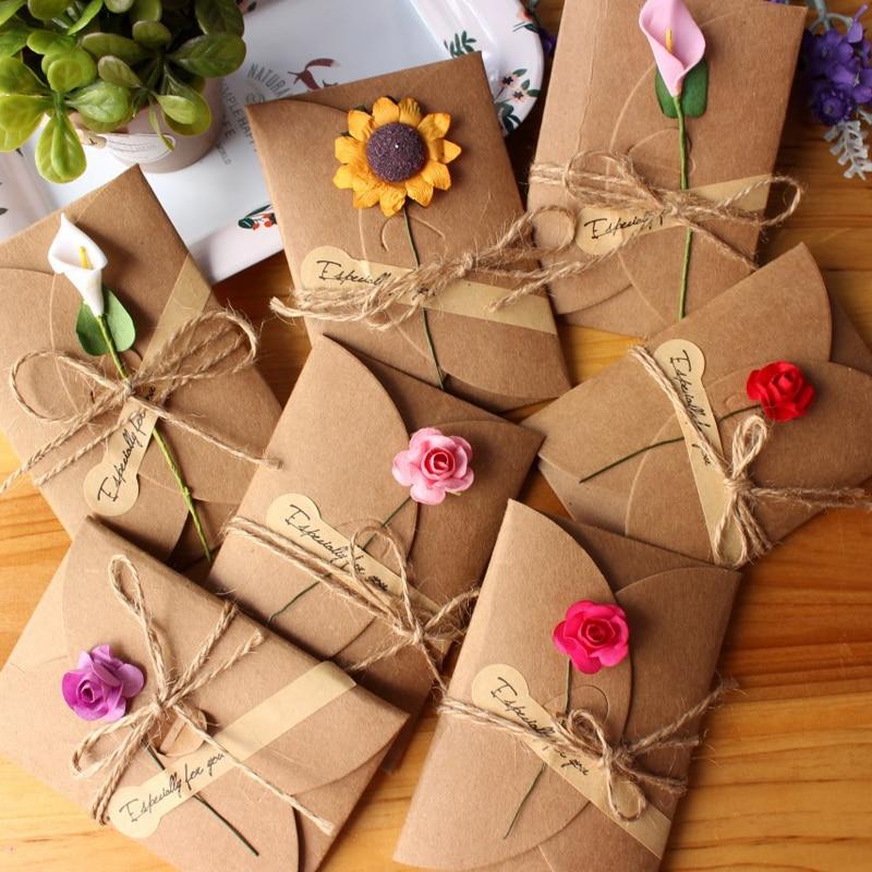 5pcs Vintage DIY Kraft Paper Invitation Greeting Card with Envelope Handmade Dry Flower Wedding Party Invitation Envelopes