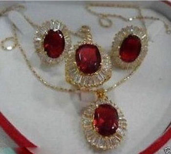 Prett Lovely Women's Wedding RED ZIRCONIA Crystal Necklace Pendant Earring Ring Jewellery Sets mujer brincos for jewelry