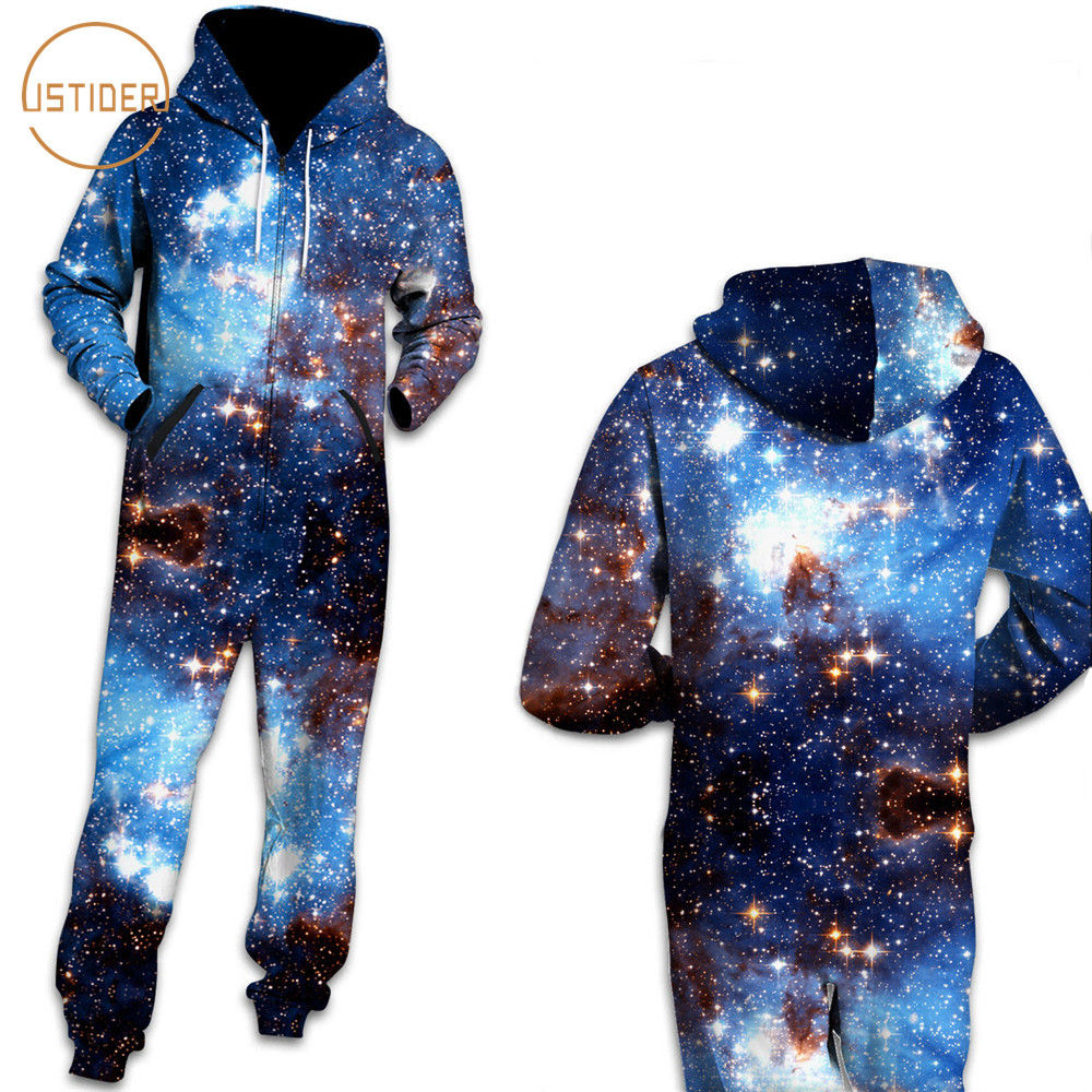 US $31 23 29% OFF|ISTider Hipster 3D Space Galaxy Print 3D Jumpsuits  Women/Men Long Sleeve Zipper Hoodies Rompers Womens Jumpsuit Unisex  Playsuit-in