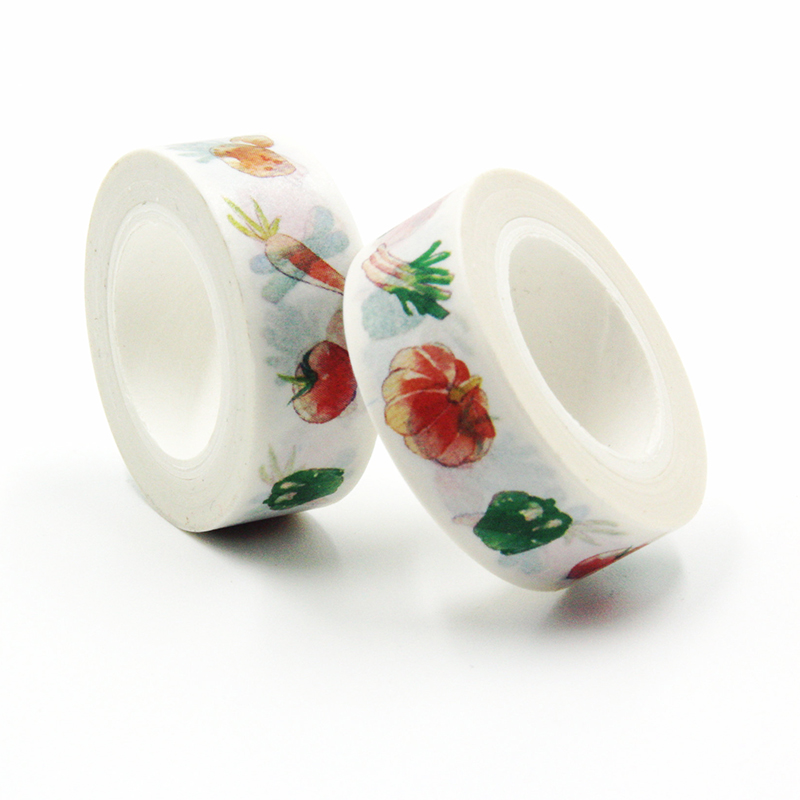 1 PCS High Quality Vegetables Pumpkin Tomato Carrot Japanese Washi Decorative Adhesive Tape Diy Masking Paper Tape Label Sticker