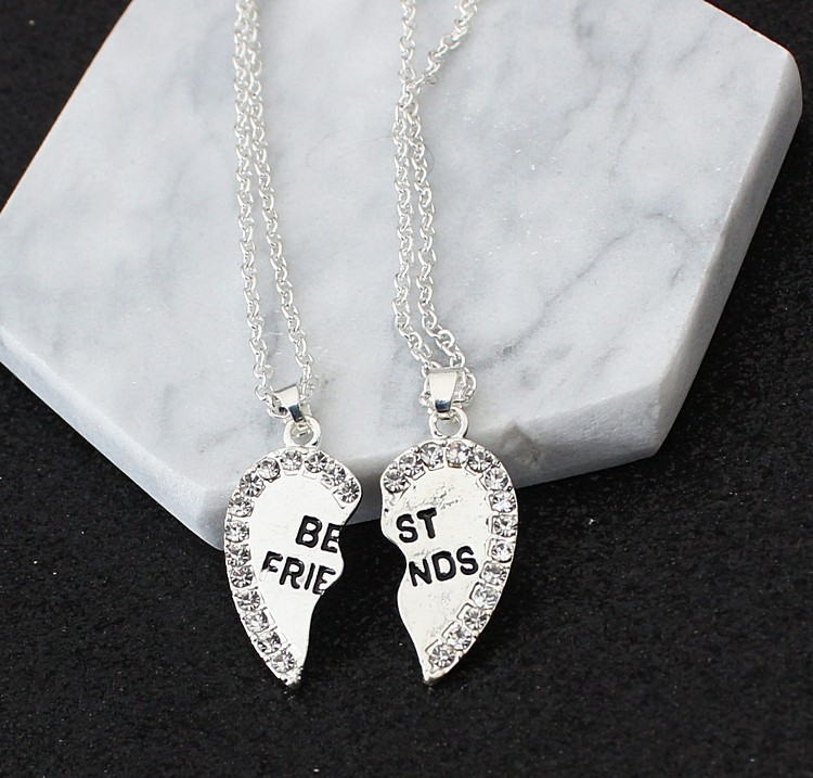 2 pieces / set Half love rhinestone pendant best friend necklace friendship gift for couple good frien dalloy pendant necklace 5