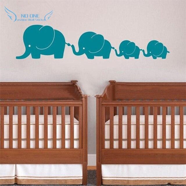 twins nursery wall art 4 elephant family with twin baby elephants