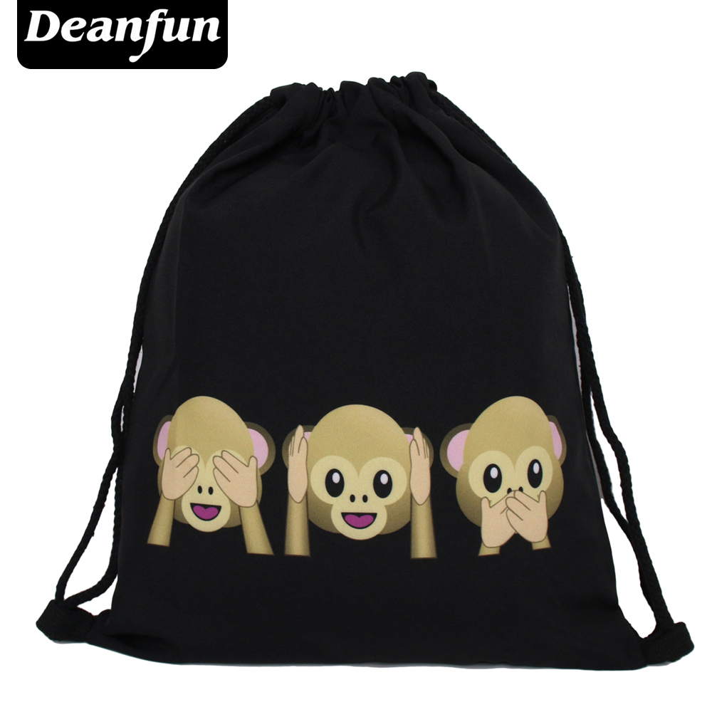 Deanfun Emoji Backpack New Fashion Women Backpacks 3D Printing Bags Drawstring Bag For Men BSKD61 men wallet cowhide genuine leather purse money clutch card holder coin short on cover black dollar price 2017 male cash wallets