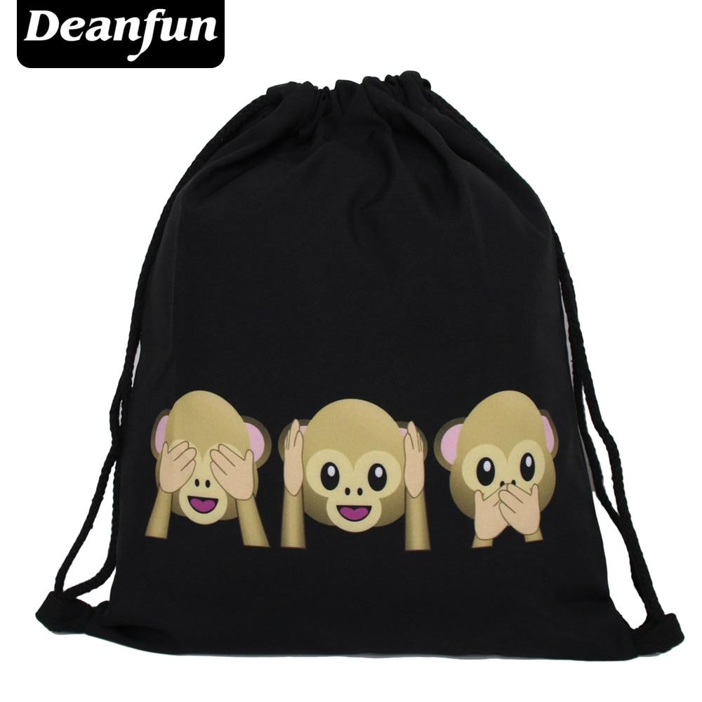 Deanfun Emoji Backpack  New Fashion Women Backpacks 3D Printing Bags Drawstring Bag For Men BSKD61