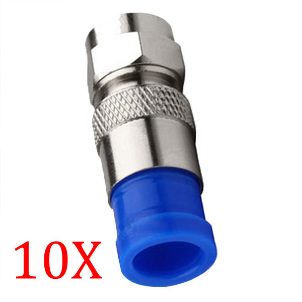 10pcs/ Lot Connector Coax Coaxial Compression Fitting O-Ring F Connectors RG6 Cable Connect ING-SHIPPING