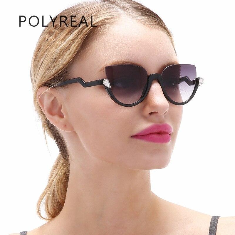 POLYREAL Fashion Cat Eye Semi-Rimless Sunglasses Women Brand Designer Cateye Sun Glasses Vogue Retro Coating Lens Mirror UV400