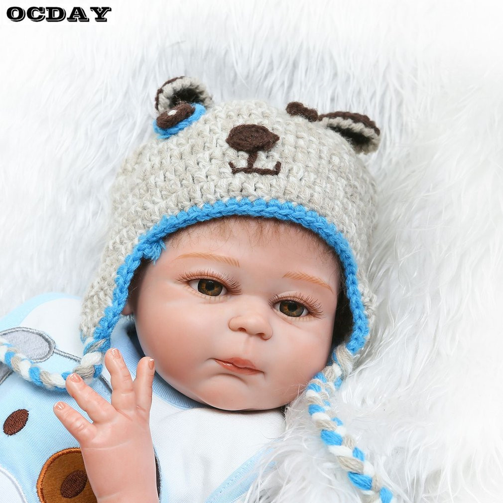 Hot! 18 Inch Kawaii Reborn Baby Dolls DIY Toys Full Body Realistic Silicone Lifelike Babies Doll Touch Soft Early Education Toys christmas gifts in europe and america early education full body silicone doll reborn babies brinquedo lifelike rb16 11h10