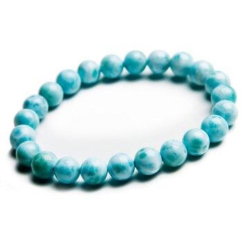 8mm Natural Larimar Blue Beads Bracelet From Dominica Gemstone Healing Stretch Water Pattern AAAAAA