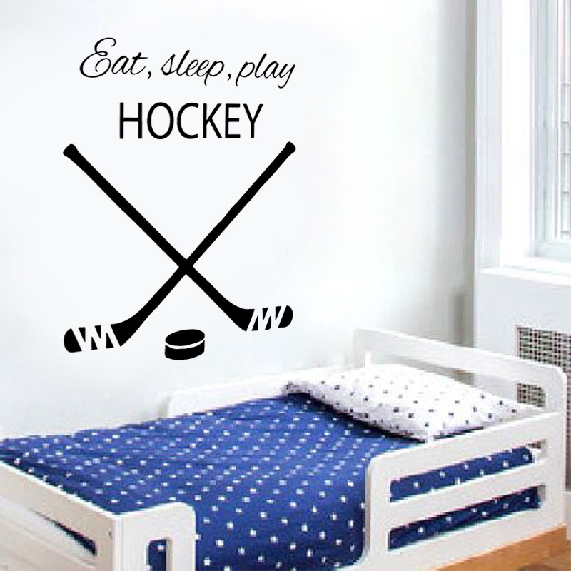 Hockey Wall Decal Quote Eat Sleep Play Vinyl Sticker Sports Home ...