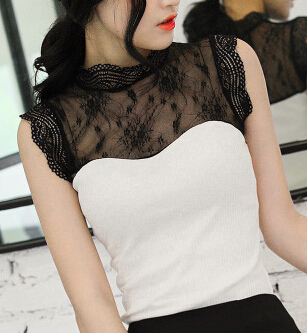 Summer New  Ladies Vestidos Vintage Lace Chiffon Blouses Shirts Women Stand Collar Sleeveless Casual Blusas 5