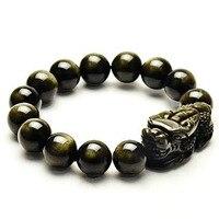 Natürliche Obsidian Perlen Armband Farbe Gold Energie Stein Hand String Pixiu Glück Tapferen Truppen Frauen Männer Schmuck